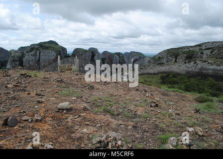 The Pungo Andongo Black Rocks are located in the municipality of Kacuso, about 116 km from the city of Malanje are - Stock Photo