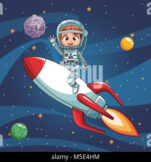 Astronaut boy flying on spaceship - Stock Photo