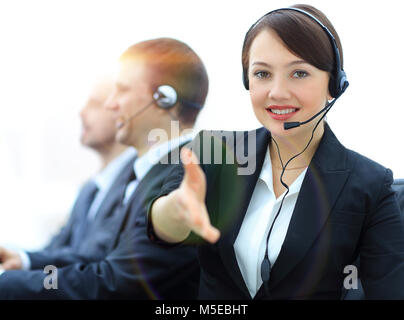 Manager of call center reaches out to shake hands. - Stock Photo