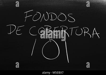 The words Fondos De Cobertura 101 on a blackboard in chalk - Stock Photo