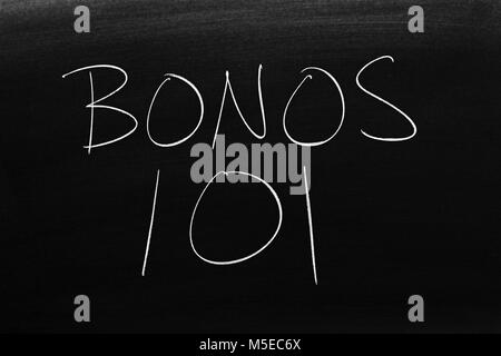 The words Bonos 101 on a blackboard in chalk - Stock Photo