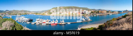 panoramic view of a small marina of western Sardinia - Stock Photo