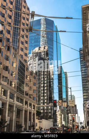 San Francisco,California,USA - January 20, 2018 : Skyscrapers in Mission Street - Stock Photo