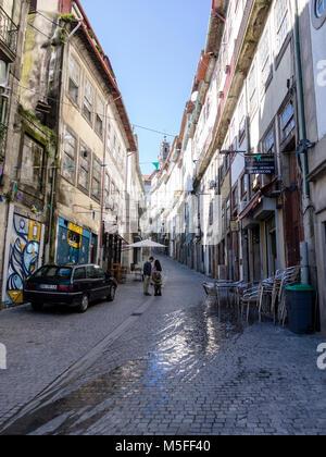 R. da Flores business street, Porto, Portugal - Stock Photo