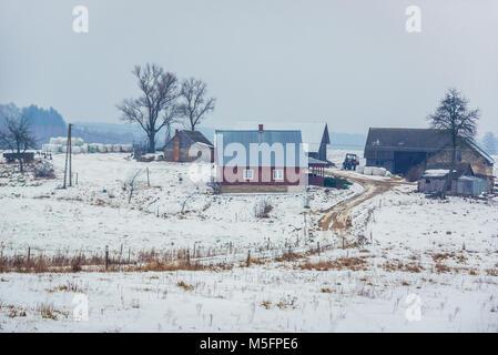 Farmstead in Dublany village within Bialystok County, Podlaskie Voivodeship of Poland - Stock Photo