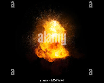 Realistic fiery explosion with sparks and smoke isolated on black background - Stock Photo