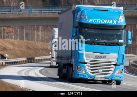 FUERTH / GERMANY - FEBRUARY 22, 2018: truck from a czech forwarder drives on german motorway - Stock Photo