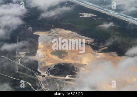 Aerial view of sand mine on the coast of Australia, Australia - Stock Photo