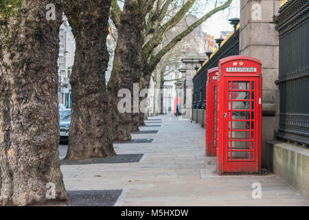 London, United Kingdom, February 17, 2018: Traditional London Red Telephone box - Stock Photo