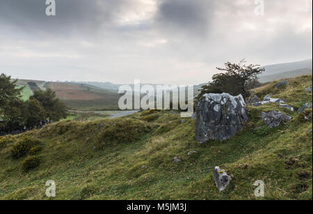 An image showing a misty landscape in the Brecon Beacons National Park, Wales, UK - Stock Photo