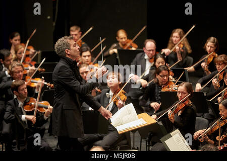 Conductor Dirk Kaftan with Beethoven Orchestra Bonn,Musik-Institut Koblenz,Koblenz,Rhineland-Palatinate,Germany - Stock Photo