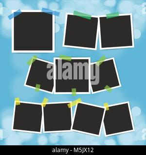 Vector set of vintage photo frame with adhesive tape on blur bokeh background. - Stock Photo
