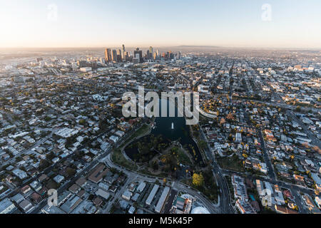 Sunrise aerial view of Echo Park and downtown Los Angeles in Southern California. - Stock Photo