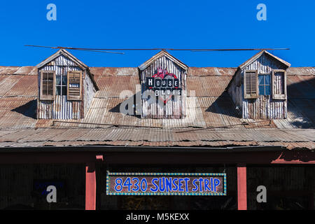 LOS ANGELES, CALIFORNIA - JULY 19, 2007: Facade of the former facade of the Los Angeles House of Blues on the Sunset - Stock Photo