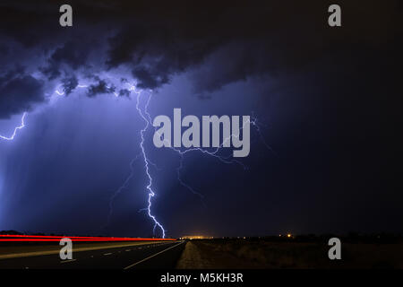 Lightning over Phoenix, Arizona during a monsoon thunderstorm. - Stock Photo