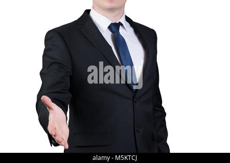 successful man extending hand to shake isolated on white background - Stock Photo