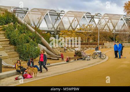 MADRID, SPAIN, DECEMBER - 2017 Arganzuela runway, a futuristic bridge construction over manzanares river at Madrid - Stock Photo