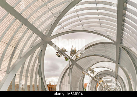 Arganzuela runway, a futuristic bridge construction over manzanares river at Madrid city, Spain - Stock Photo