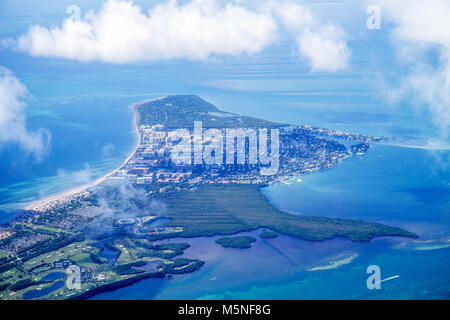 Miami Florida International Airport MIA American Airlines aerial Key Biscayne window seat view Biscayne Bay Atlantic - Stock Photo