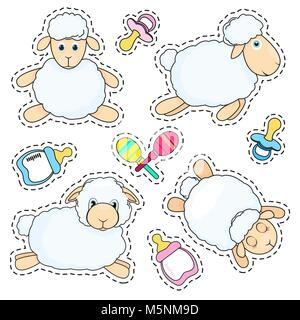 Set of stickers sheep in cartoon style isolated on white background. Sheep in different poses. Baby bottle, nipple - Stock Photo