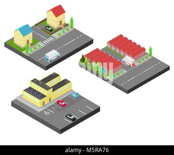Isometric house. Two houses on the same street. Isometric building with solar panel. The factory with storage tanks, - Stock Photo