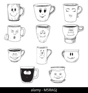 Hand drawn a set of cups in a cartoon style. Vector illustration of a sketch style. - Stock Photo