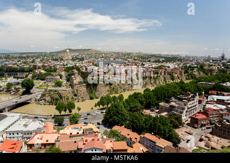 Tbilisi, Georgia. Beautiful view of Tbilisi. It is the capital of Georgia located on the banks of the Kura river. - Stock Photo
