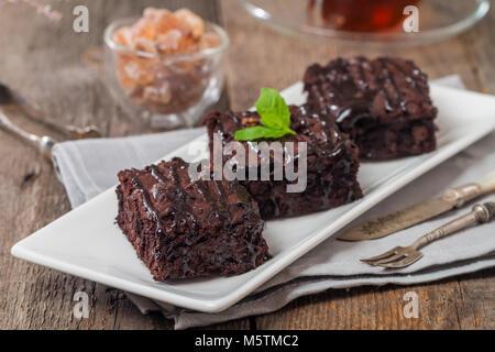 Cake brownies with dark chocolate - Stock Photo