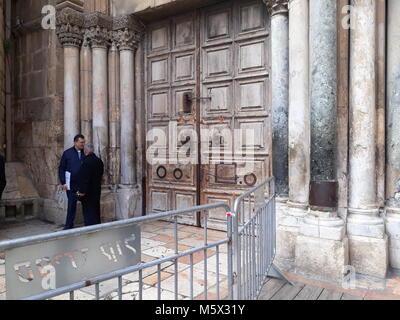 Jerusalem, Israel. 26th Feb, 2018. JERUSALEM, ISRAEL - FEBRUARY 26, 2018: Outside the Church of the Holy Sepulchre - Stock Photo