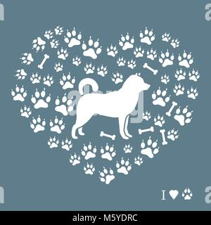 Shiba Inu silhouette on a background of dog tracks and bones in the form of heart. Design element for postcard, - Stock Photo