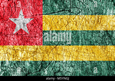 Grudge stone painted  Togo flag - Stock Photo