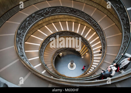 ROME, ITALY - FEBRUARY 7, 2018: Famous double spiral staircase at the exit of the Vatican Museum in Rome. - Stock Photo