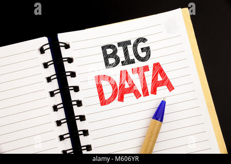 Handwriting Announcement text showing Big Data. Business concept for Digital Business Analysis written on notepad - Stock Photo