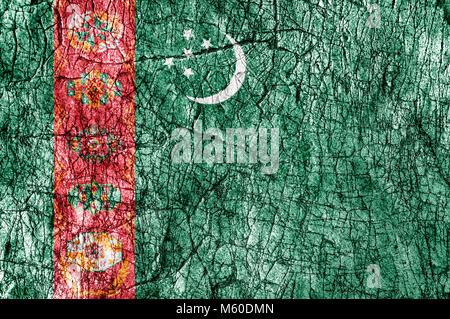 Grudge stone painted  Turkmenistan flag - Stock Photo