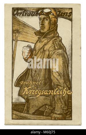Old German postcard military pilot. Poster. Caption: ' Vertraut uns. Zeichnet Kriegsanleihe'. ('Trust us. Take out - Stock Photo