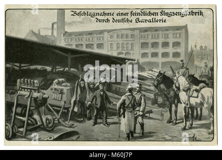 Old German postcard The seizure of an enemy military factory German cavalry. A plant for the production of airplanes. - Stock Photo