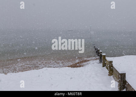 heavy Snow Falling over Thames Estuary at Thorpe Bay near Southend-on-Sea - Stock Photo