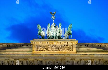 The brandenburg gate in Berlin (Germany) in the evening light, 30 January 2018.   usage worldwide - Stock Photo