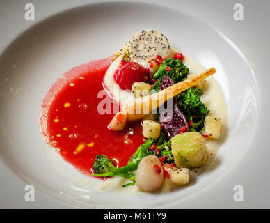 fine dining in Bavaria, Oberstdorf Restaurant Maximilinas Michelin Star chef dinner Tobias Eisele - Stock Photo