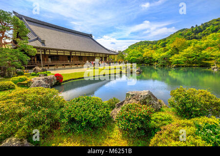 Kyoto, Japan - April 27, 2017: Hojo Hall and picturesque Sogen Garden or Sogenchi Teien with a circular promenade - Stock Photo