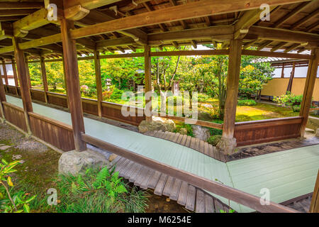 Kyoto, Japan - April 27, 2017: covered corridor that leads to Taho-den hall through the garden of Zen Temple Tenryu - Stock Photo