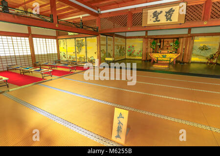 Kyoto, Japan - April 27, 2017: Tenryu-ji, the most important Temple Zen in Arashiyama, Kyoto. Inside at Taho-den - Stock Photo