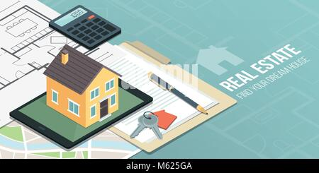 Model house on a digital tablet, home project, map and contract: real estate, home insurance and loan concept - Stock Photo