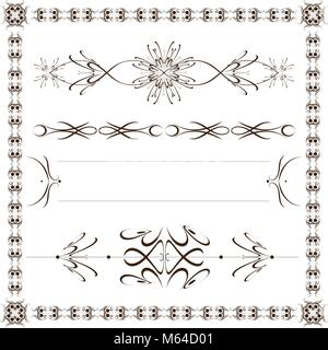 Set vector calligraphic design elements and frame - Stock Photo
