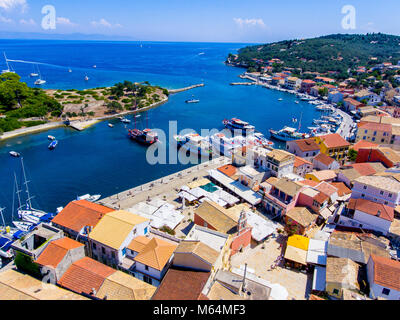 Gaios, capital city of Paxos Island near Corfu, aerial view. Important tourist attraction in the Ionian islands, - Stock Photo