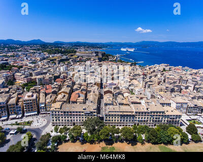Corfu town from above. Old capital of the island Kerkyra, Greece, Europe. Mediteraneean architecture. Old fortress - Stock Photo