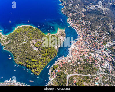 Paxos island from above. Aerial view of the small town Gaios, capital of the island. - Stock Photo