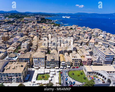 Corfu old town from above. The capital of the island Kerkyra, Greece, Europe. Mediteraneean architecture. Old fortress - Stock Photo