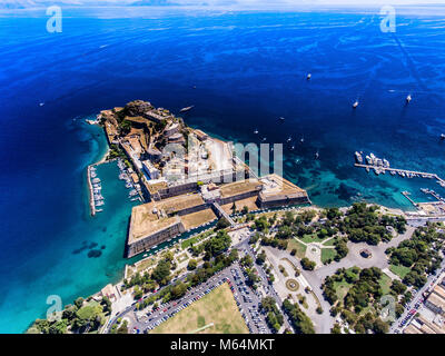 The old venetian fortress in Corfu town, the capital of Kerkyra Island, Greece. Aerial photography. - Stock Photo