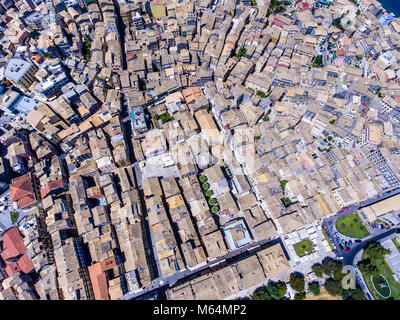 The streets of Corfu town from above. Old venetian influenced architecture. Kerkyra island, Greece. - Stock Photo